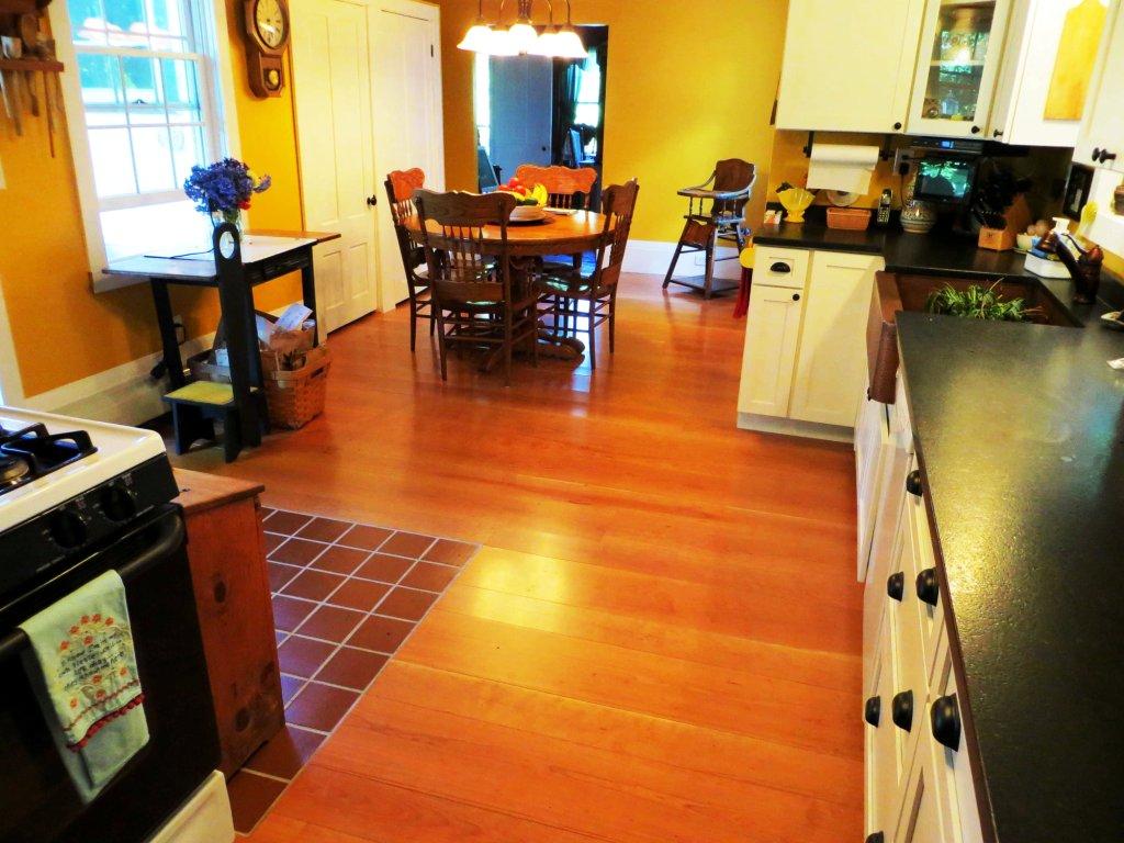 Prefinished cherry wood floor.