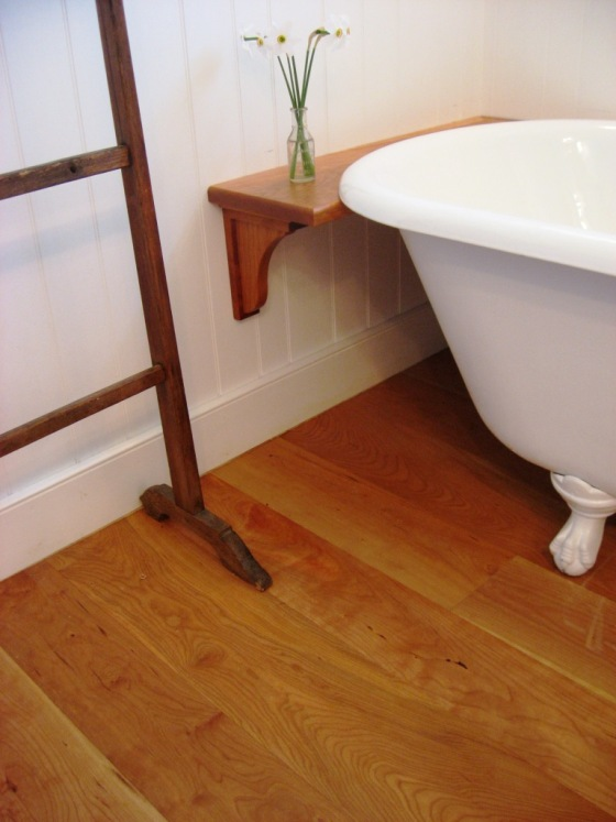 cherry wide plank bathroom flooring and tongue and groove wall paneling