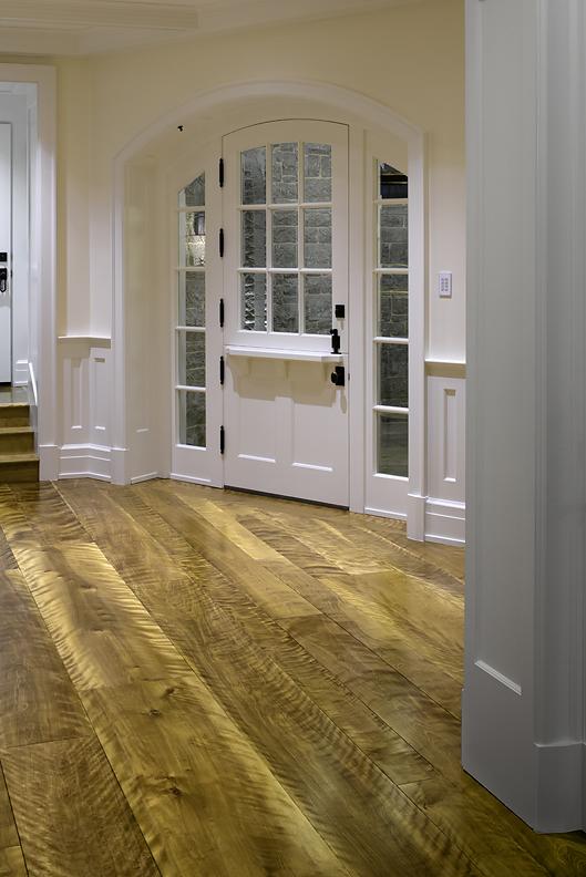 Curly figured birch wood flooring