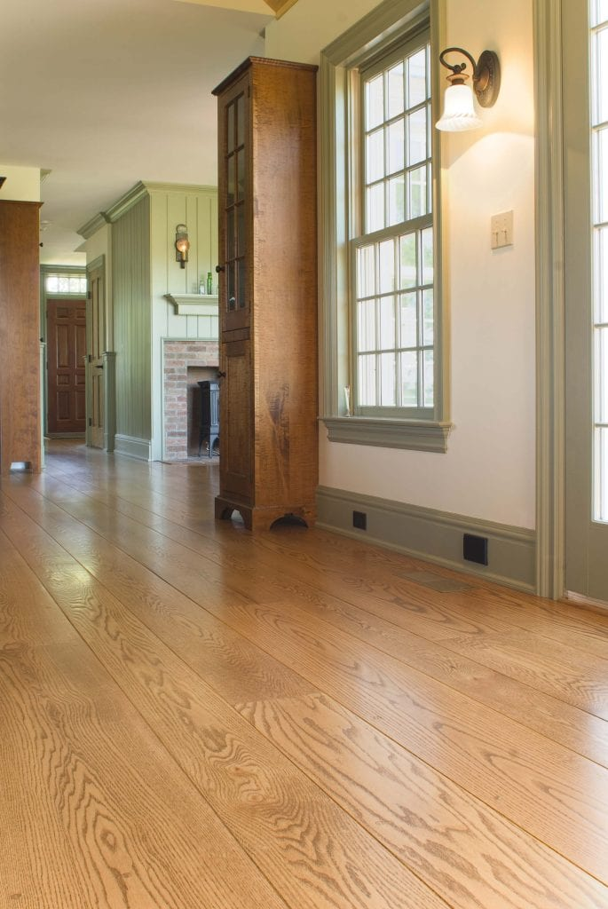 Red oak wide plank flooring from Hull Forest Products