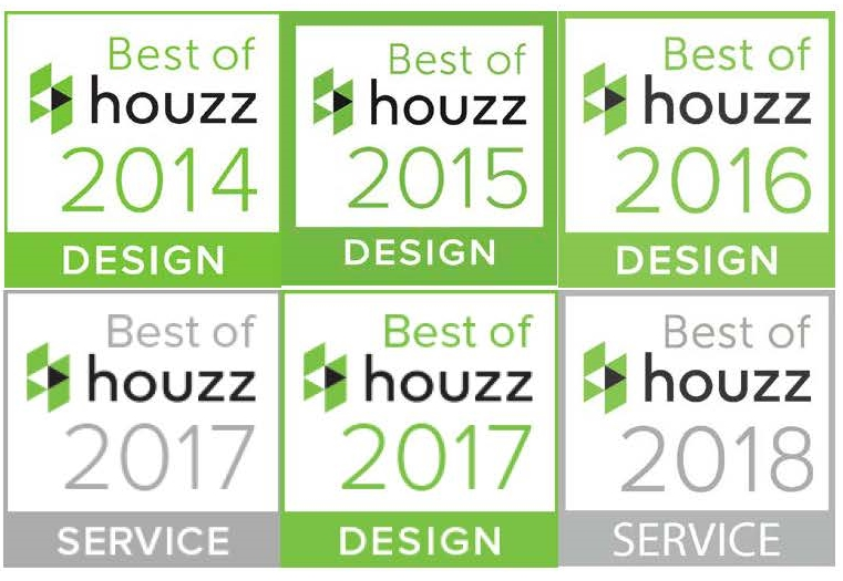 Best of Houzz awards won by Hull Forest Products in 2014, 2015, 2016, 2017, and 2018.