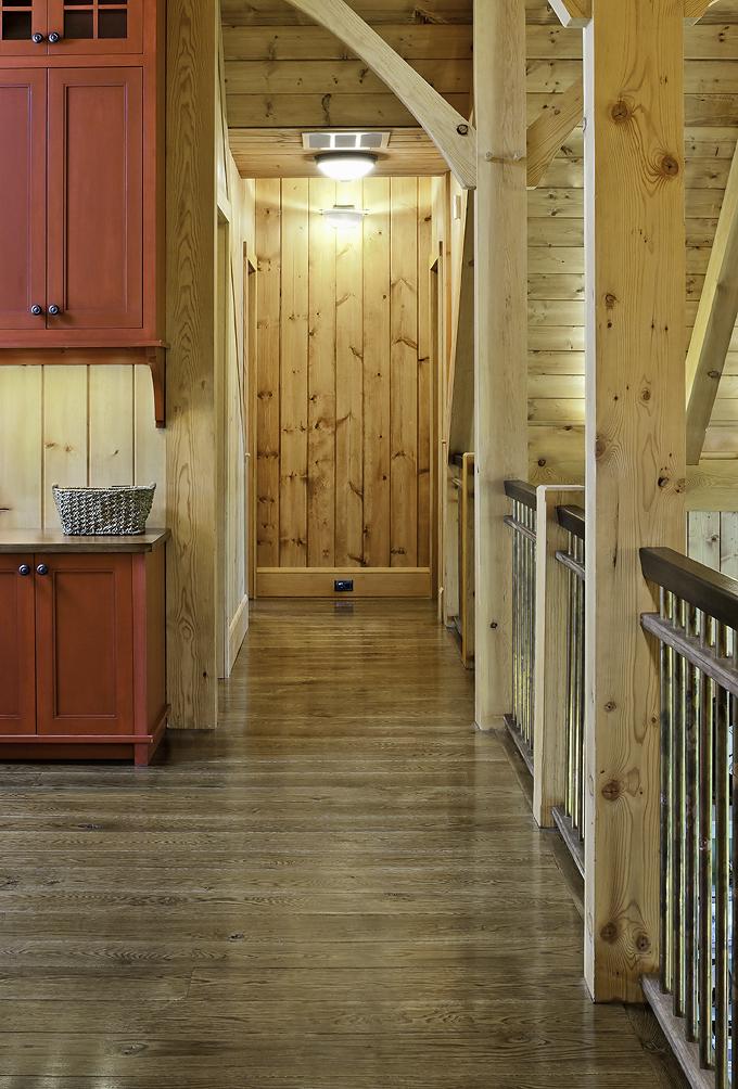 Live sawn white oak wood floors in a new timber frame home