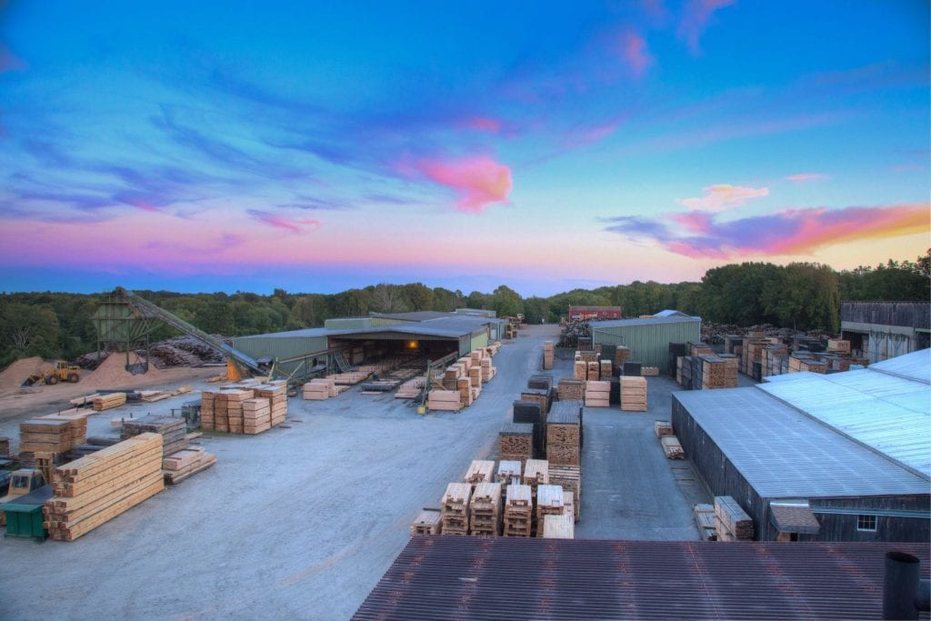 Hull Forest Products sawmill in Pomfret, CT