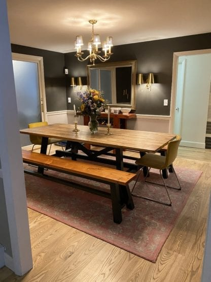 Dining room with wide plank Ash solid wood flooring