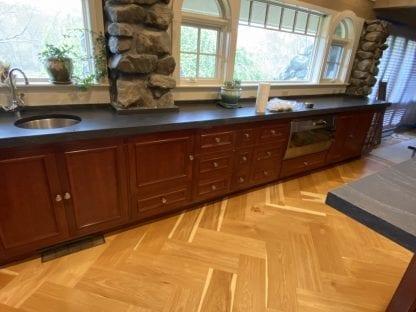 Example of herringbone Hickory flooring