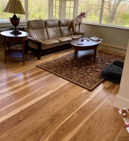 Example of select grade wide plank hickory solid 3/4 inch thick flooring