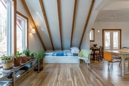 Select grade Hickory wood flooring, long planks.