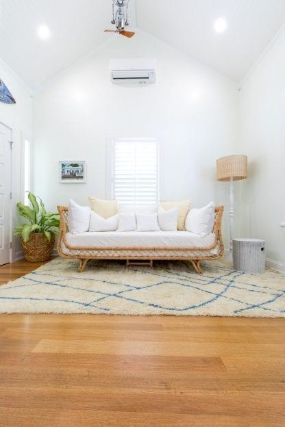Living room floor Key West, Florida, quarter and rift sawn select white oak