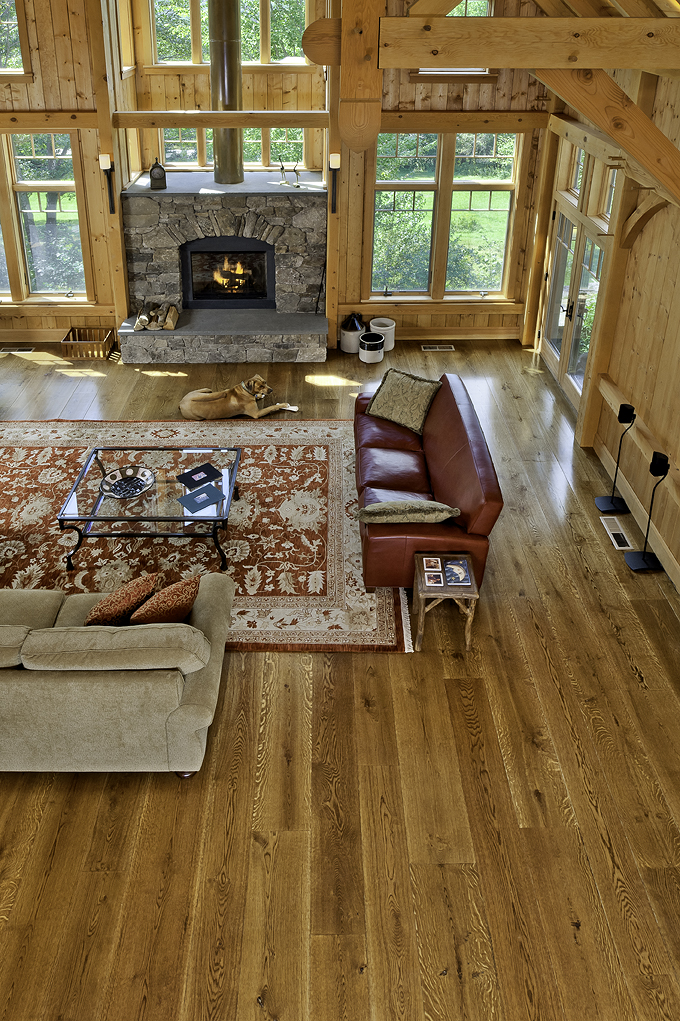Natural grade White Oak flooring with character markings.