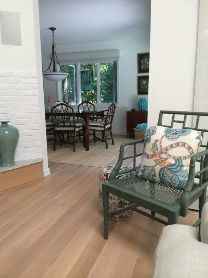 Select grade 5 inch plainsawn white oak mixed with select quarter and rift sawn white oak and finished with a white wash and matte oil. Floor #246.