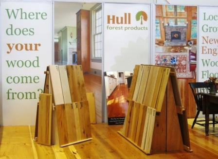 Hull Forest Products wide plank wood flooring display