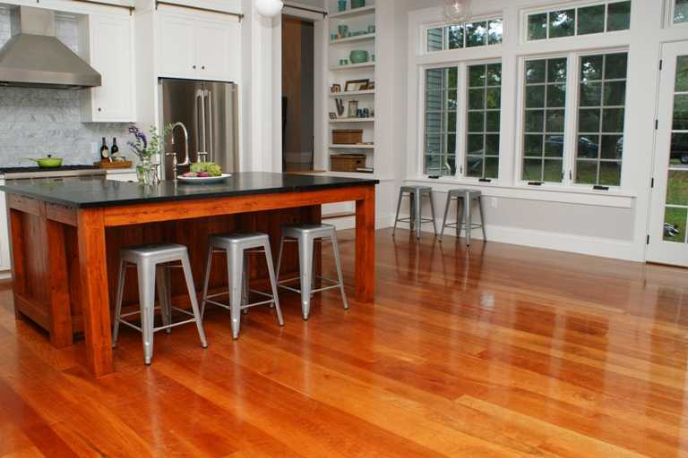 Reddish toned American Cherry wide plank wood floors from Hull Forest Products