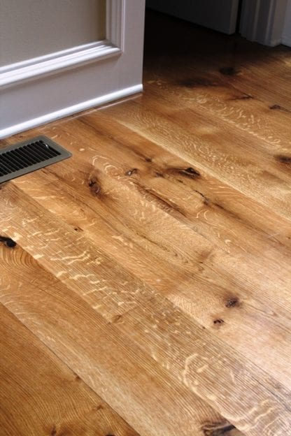 quarter and rift sawn natural grade white oak flooring over radiant heat