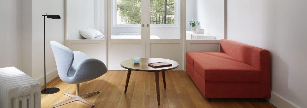 This is our rift and quartered select grade White Oak floor in a Greenwich Village apartment. Floor #247. Design by Krajewski Architect. Photo by Mikiko Kikuyama.