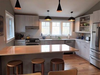 live sawn oak kitchen floor Martha's Vineyard cottage