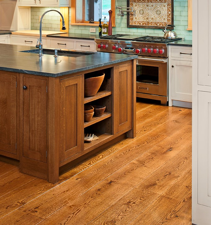 Modern kitchen with wide plank live sawn wood floors