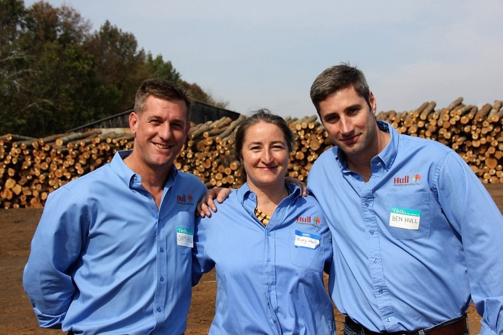 Hull siblings and business partners at the family sawmill.