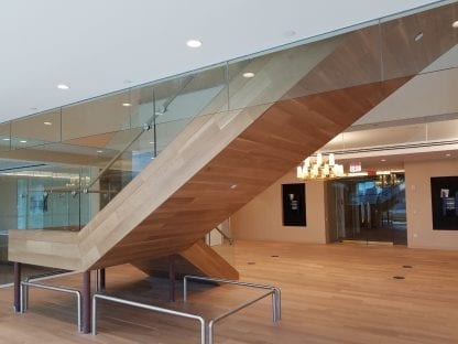 white oak stair treads and staircase cladding